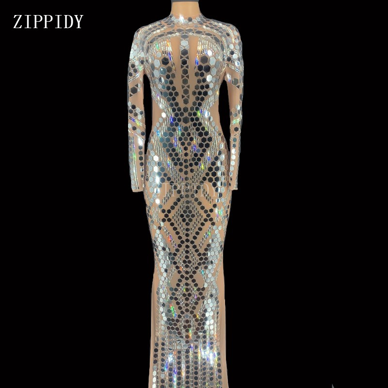 Shining Silver Sequins Crystals Long Dress Women Stage Dance Transparent Mess Mirrors Bodysuit See Through Outfit YOUDU