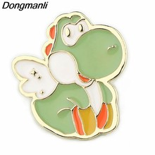 P3978 Dongmanli Cute Little Green Dragon Spilla Smalto Spille Fibbia In Metallo Spilla per le donne Regalo Gioielli Distintivo per I Bambini(China)
