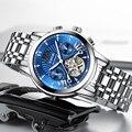 LUIK Heren Horloges Top Brand Luxe Automatische Mechanische Moon Phase Horloge Mannen Roestvrij Staal Waterdichte Week Display Polshorloge