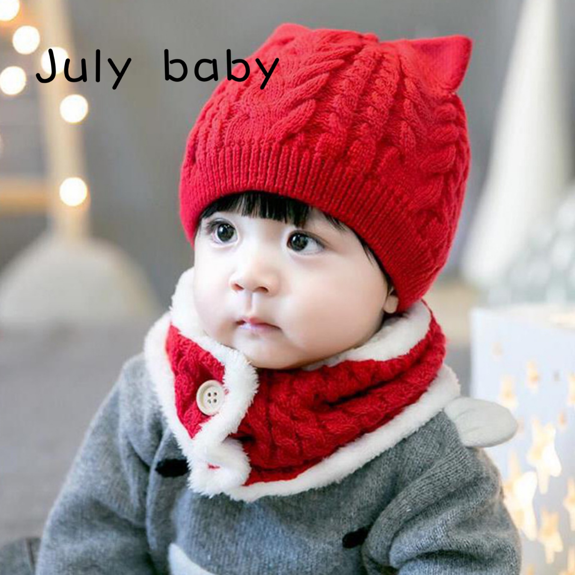 July Baby Cute And Comfortable Hat Earmuffs Warm Thick Wool Hat 1-2 Years Old Boys And Girls Baby Autumn And Winter Hat Scarf Tw