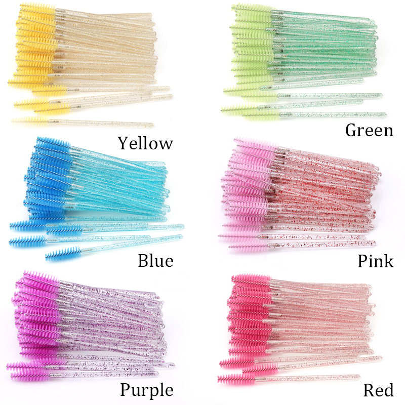 50Pcs Disposable Crystal Eyelash Brush Mascara Wands Applicator Grafting Eyelash Curling Comb Beauty Makeup Tool 2