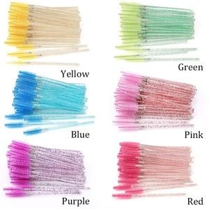 Image 3 - 25/50Pcs Disposable Crystal Eyelash Brush Mascara Wands Applicator Grafting Eyelash Curling Comb Beauty Makeup Tool