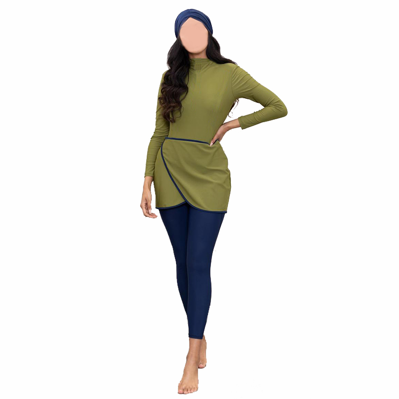 2020 Muslim Swimwear Women Modest Patchwork Hijab Long Sleeves Sport Swimsuit 3pcs Islamic Burkinis Wear Bathing Suit 4XL