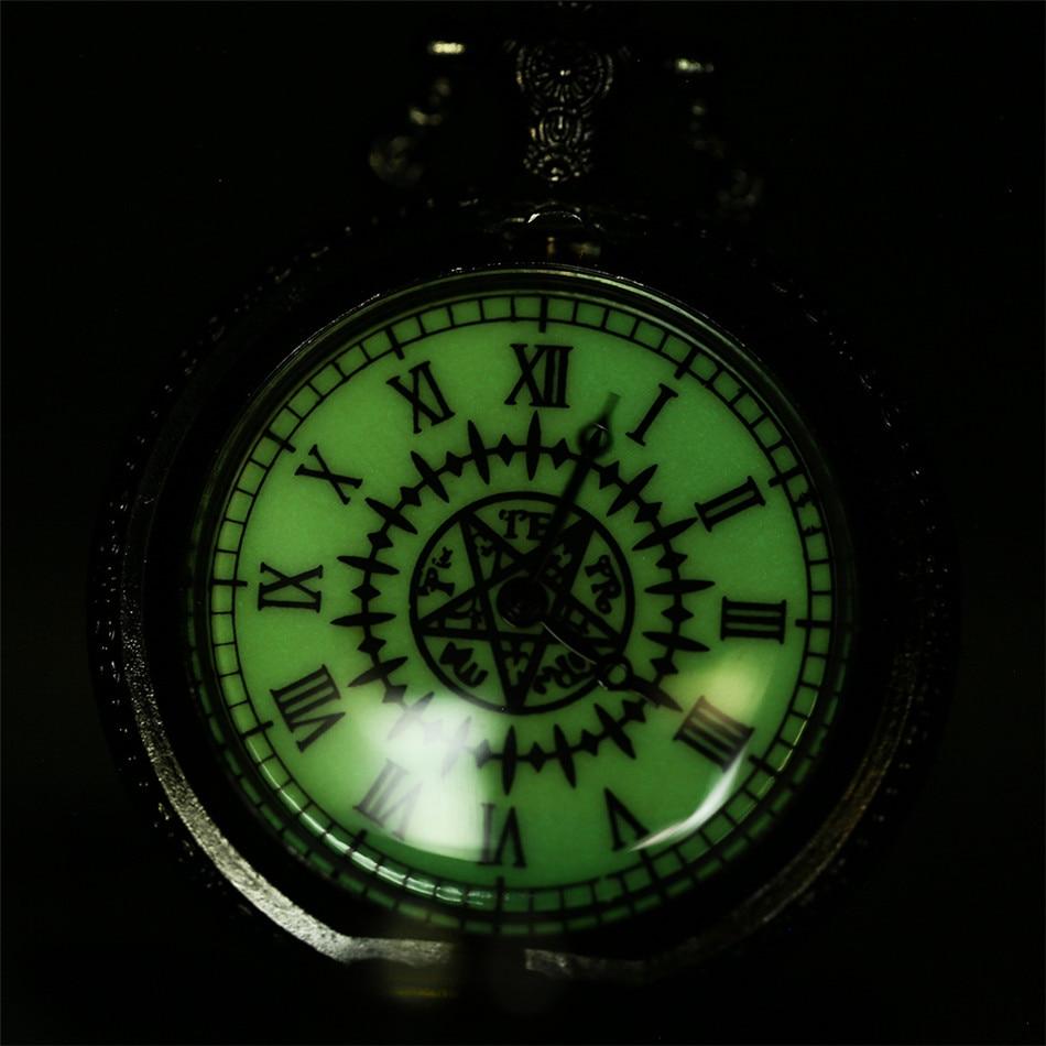 Luminous Roman Numerals Japanese Anime Theme Quartz Pocket Watch Black Necklace Pendant Clock Gifts for Kids Students