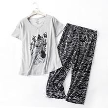 Mùa Hè Crop Quần Pyjama Bộ Nữ Plus Kích Thước 100Kg Áo Thun Nữ Tay Ngắn Ấm Cúng, Thời Trang Homewear Pyjamas Dành Cho Nữ