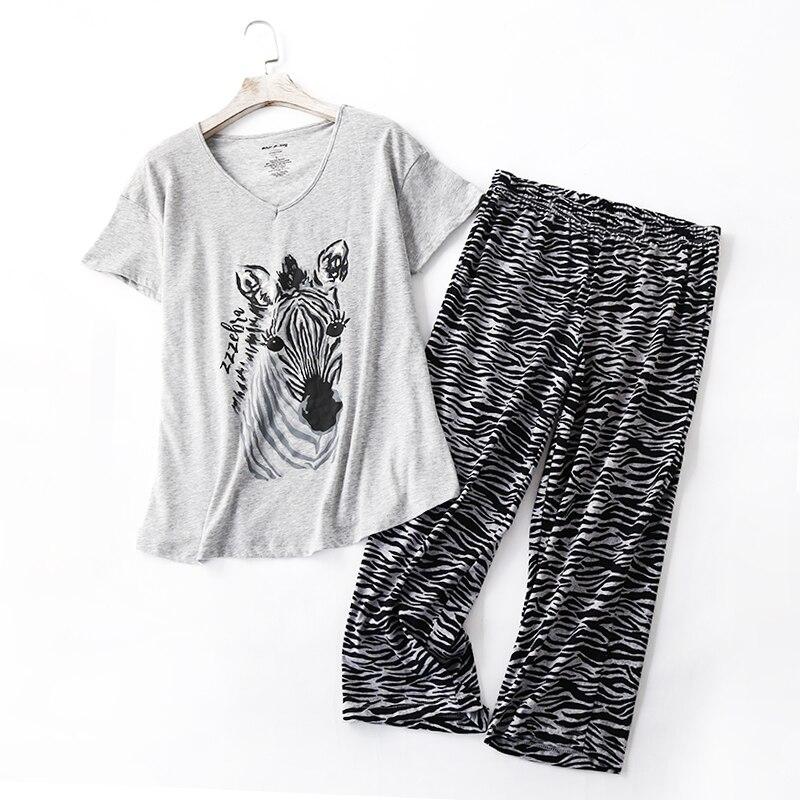 Plus size summer casual pajamas sets women Summer short sleeve cropped trousers cozy sleepwear women pyjamas 130kg