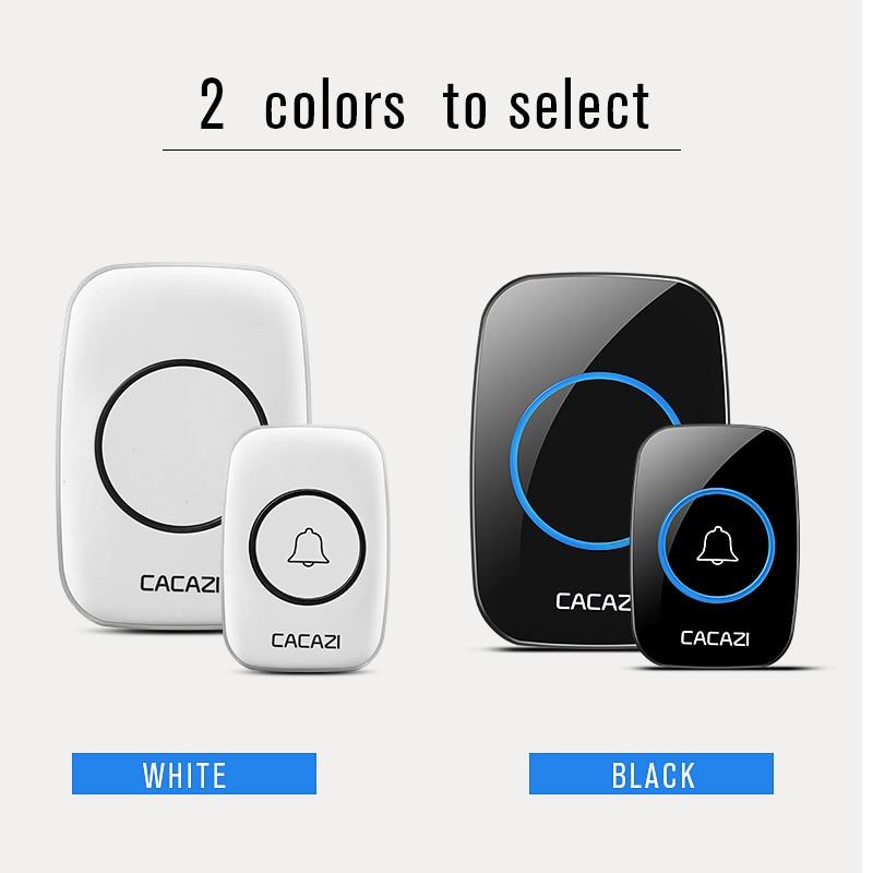 Купить с кэшбэком CACAZI New Waterproof Wireless Doorbell 300M Remote CALL EU/UK/US/AU Plug smart Door Bell Chime 220V 1V2 buttons 1V2 receivers