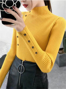 Knitted Sweater Pullovers Button Turtleneck Soft Women Autumn Elastic-Color Full-Sleeve