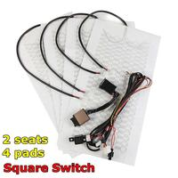 1 Set 2 Seats 4 Pads Universal Carbon Fiber Heated Seat Heater 12V Pads 2 Dial 5 Level Switch Winter Warmer Seat Covers