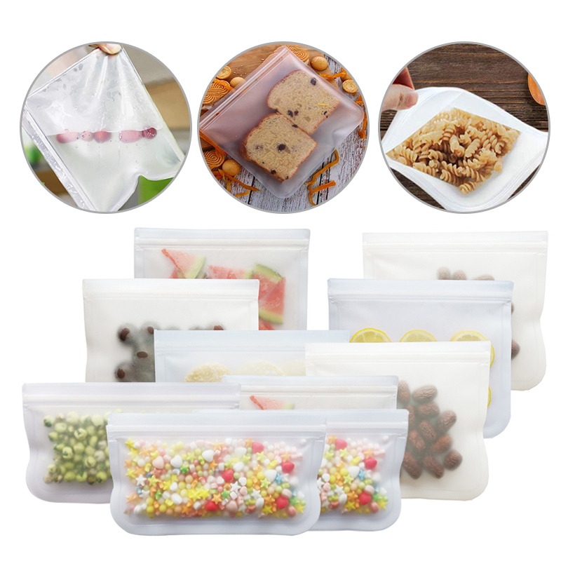 Reusable Silicone Food Storage Containers Freezer Sealing Bag Bags Zip Leakproof