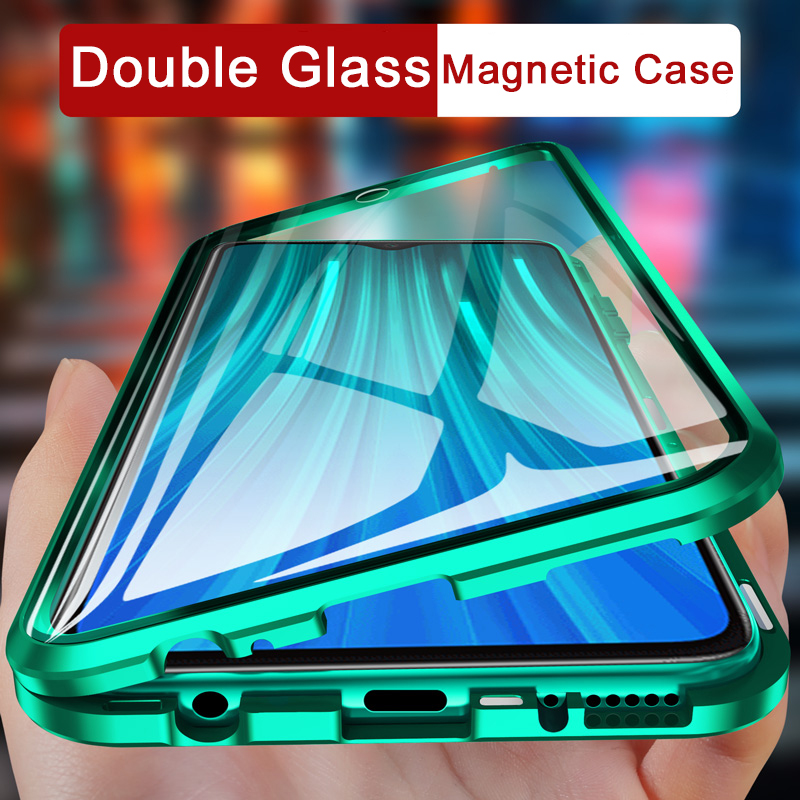 360 Protection Magnetic Tempered Glass Phone <font><b>Case</b></font> on for Xiaomi Redmi 8A K20 Note 8 7 <font><b>Mi</b></font> <font><b>9</b></font> <font><b>Se</b></font> 9T Pro Mi9t Note8 adsorption cover image