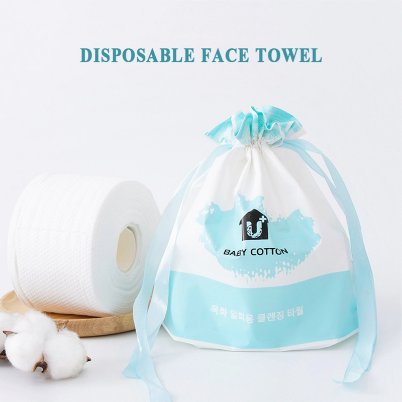 Disposable Facial Towel With Storage Bag Cotton Non-woven Fabric Facial Cleansing Cloths Facial Tissues - 190G/Roll
