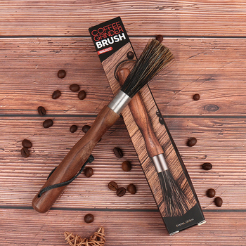 1pcs offee Grinder Cleaning Brush With Long Handle Black Walnut Natural Bristles Lanyard Coffee Machine Brush image
