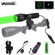 5000лм охотничий фонарь XM-L T6 светодиодный фонарь тактический зеленый/красный/белый фонарь+ дистанционный переключатель давления+ крепление+ 18650 аккумулятор+ зарядное устройство