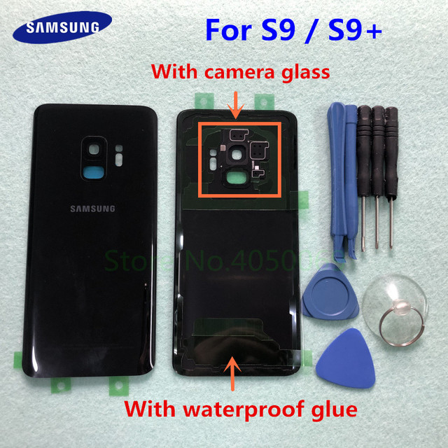 SAMSUNG Back Battery Cover For Samsung Galaxy S9 G960 SM 960F S9 Plus S9+ G965 SM G965F Back Rear Glass Case + Tools