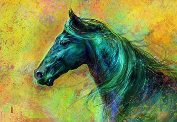 beautiful MODERN ABSTRACT horse OIL PAINTING CANVAS 24x36 inches