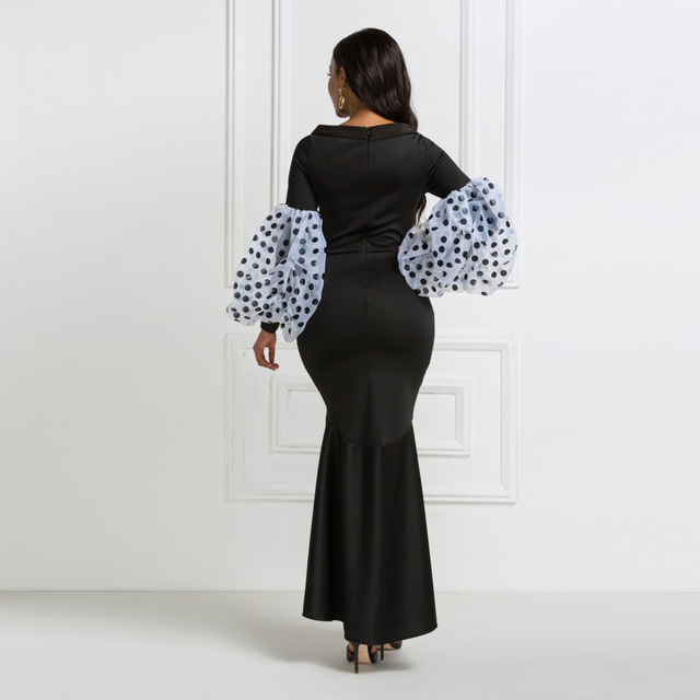 Black Maxi Party Dress Long Puff Sleeves Polka Dot Hollow Out Sexy Event Occasion Women Elegant Celebrate Evening Night Robes 4
