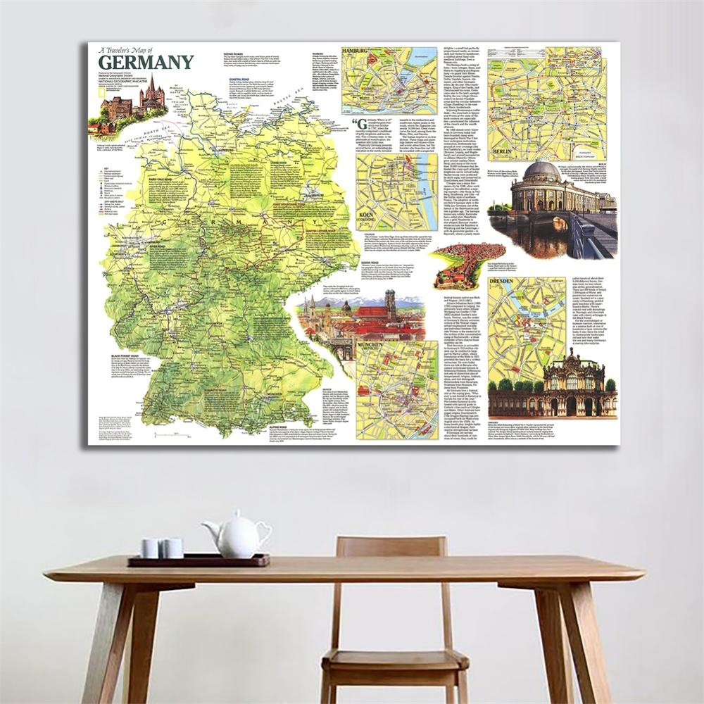 A Traveller's Map Of Germany In 1991 HD Non-woven Vinyl Spray Painting Map Home Crafts Wall Art For Traval 100x150cm
