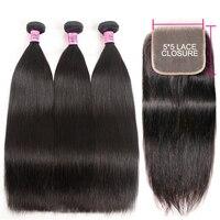 UNICE Hair Straight Hair Bundles with 5x5 Closure Brazilian Hair Weave Bundles 4pcs Remy Human Hair 3 Bundles With Closure