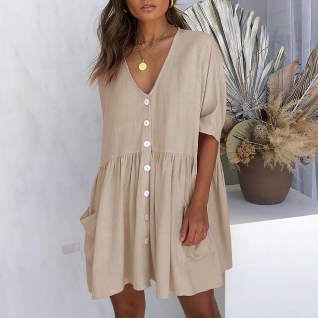 Women's Fashion Casual V-Neck Solid Short Sleeve Button Pocket Short Dress vestido de mujer summer dress платья для женщин 5
