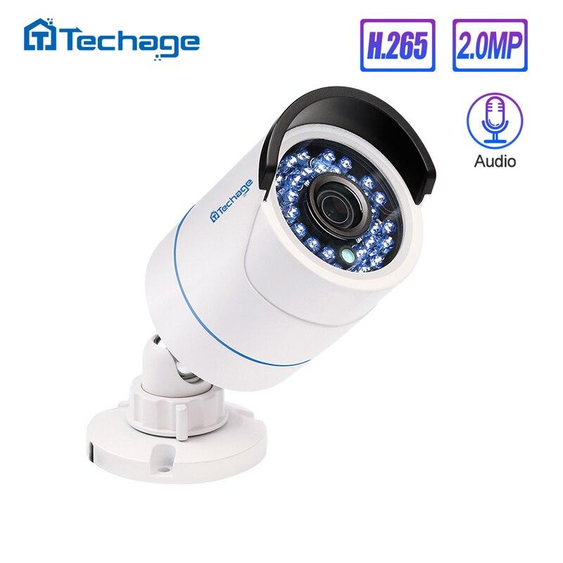 Techage 2.0MP H.265 HD 1080P Gravação de Áudio CCTV P2P Onvif POE Câmera IP IR Impermeável Ao Ar Livre Bala de Vigilância de Segurança câmera