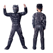Halloween Superhero Black Panther Cosplay Kids Child Boy's Black Panther Muscle Costume Jumpsuit Bodysuit Cosplay Costume Outfit