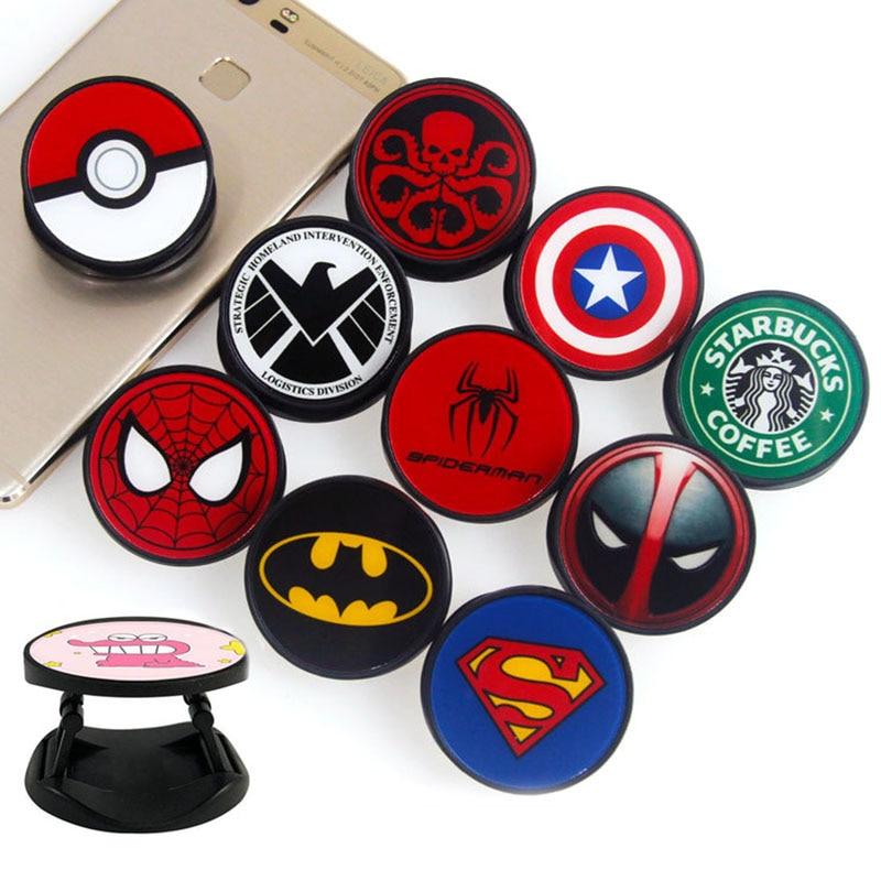 Creative Hero Spider Logo Plastic Fold Mobile Phone Finger Ring Holder Universal For All Brands Phone And All Men And Women