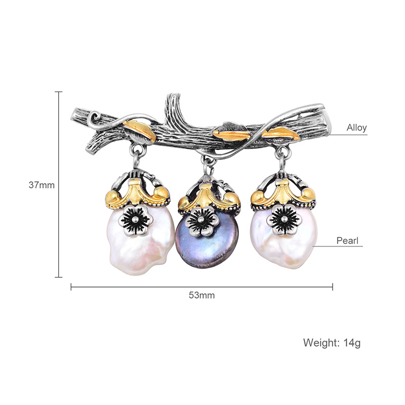 Hongye Freshwater Natural Pearl Brooch Branches Plant Silver Color Vintage Brooches Gift For Temperament Women Girls Appointment-5