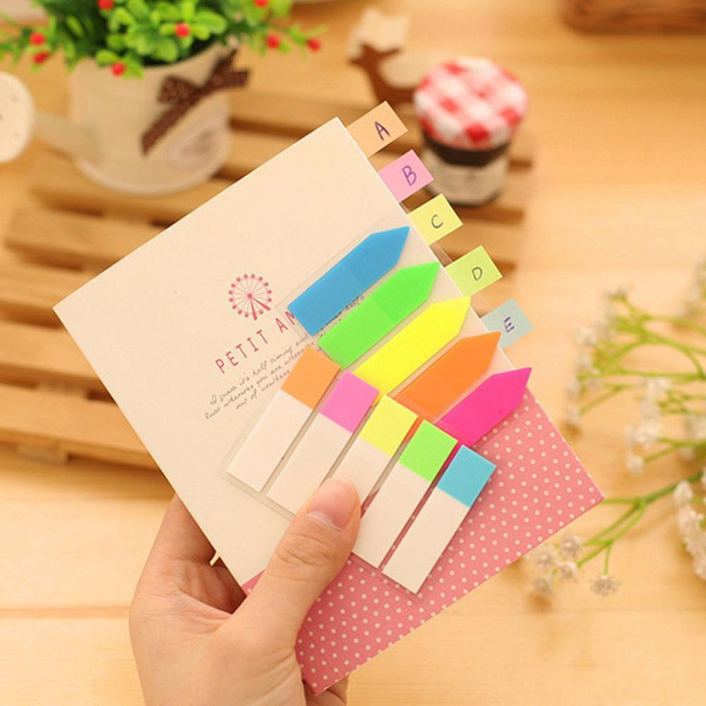 100Pcs Transparent Color Plastic Index Tabs Flag Sticky Note Instruct Page Mark Stickers Post Label Office Supplies