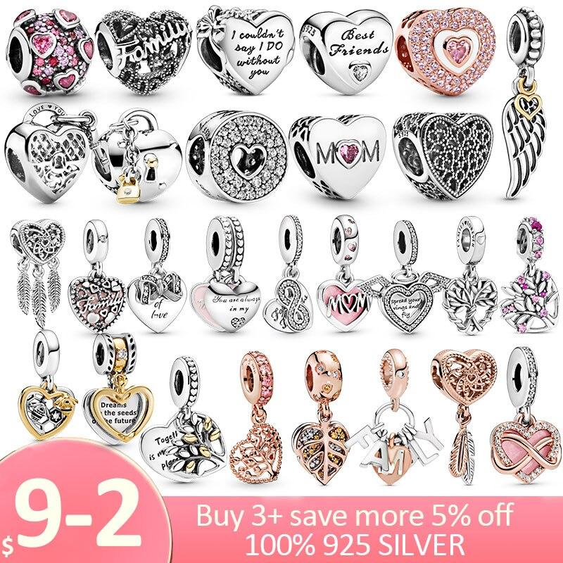 Collar de plata de ley 925 con forma de corazón colgante, pulsera Pandora Original, joyería 925
