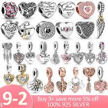 Breloque cœur Collection en argent Sterling 925, breloque cœur amour pour toujours, adapté aux bracelets Pandora originaux, en argent 925