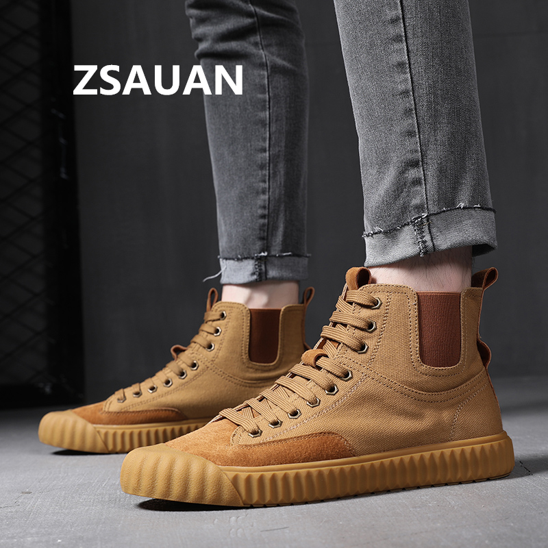 ZSAUAN Stylish Young Men Casual Shoes Ankle Men Chelsea Boots Original Lace-up Suede Hemp High Top Men Skate Shoes Sneakers