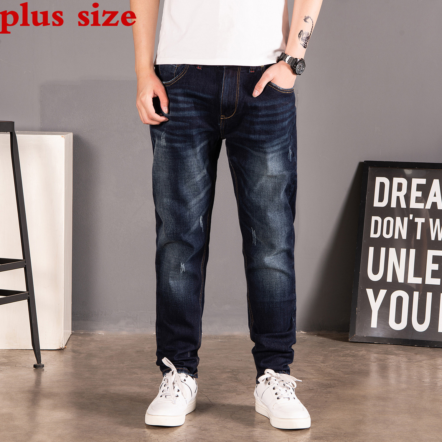 2020 New Plus Size 46 44 42  40 Jeans Men Loose Trousers Spring Autumn Jeans Pants Elasticity Straight Stretch