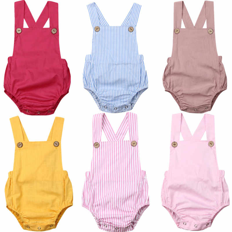 Fashion New Summer Newborn Baby Bodysuits Casual Clothes Cute Solid Baby Girls Boys Jumpsuit Sunsuit Kids Backless Beach Outfits