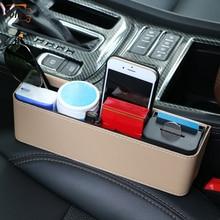 YOLU PU Leather Car Storage Box Auto Organizer Seat Gap Case Pocket Side Slit Fit for Wallet Phone Coins Cigarette