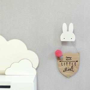 Nordic Nursery Decor Bunny Batman Wooden Clothes Hooks For Kids Room Decoration Scandinavian Children Room Hanger Hook Wall Deco(China)