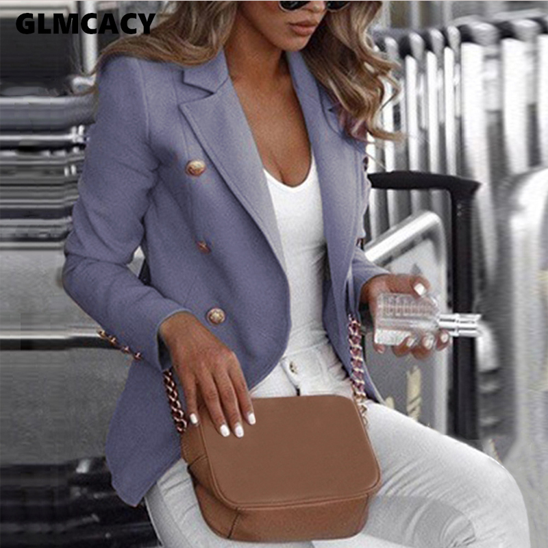 Women Double Breasted Notched Lapel Collar Long Sleeve Blazer Chic Spring Fall Elegant Office Lady Fashion Trend Oversize Blazer