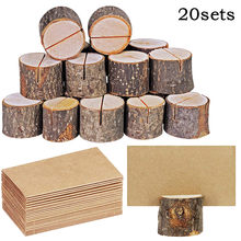 Wood Pile Name Place Card Photo Holders Wooden Bark Memo Holder Stump Shape Menu Number Memo Stand Wedding Party Decor(China)