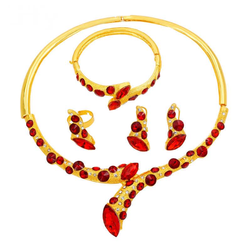 Liffly ดูไบแฟชั่น Luxury Gold ชุดเครื่องประดับสร้อยคอคริสตัลสีแดงสร้อยข้อมือ Charm ไนจีเรียต่างหูเครื่องประดับอุปกรณ์เสริม