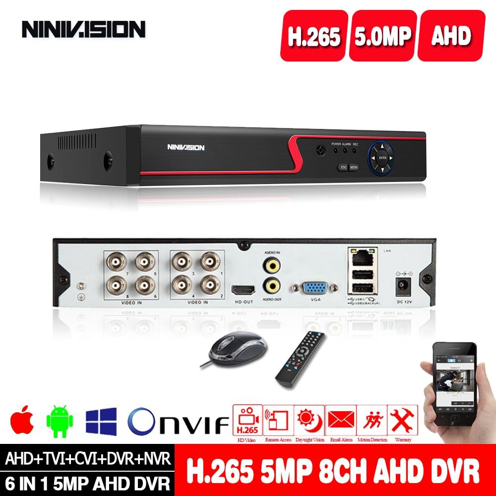 8CH 5-1 CCTV DVR 8MP 5MP TVI 4CH Audio Support AHD//TVI//CVI//CVBS//IP Cameras