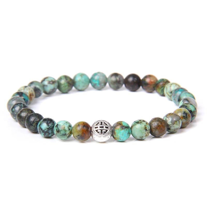 Hommes Bracelet Pierre Naturelle afrique Turquois Bracelet pour femmes bouddha richesse santé Fortune amulette Pulsera mode bijoux cadeau