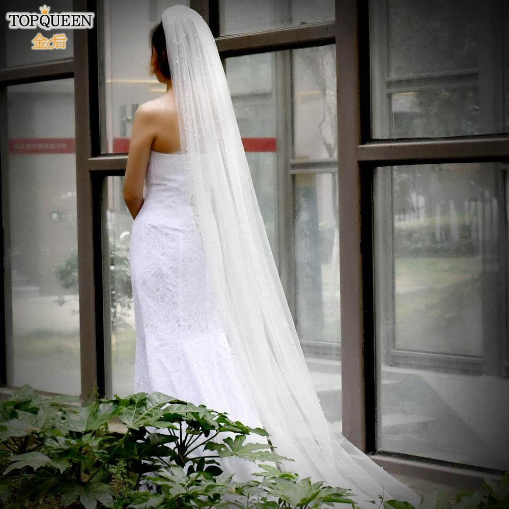 TOPQUEEN V09 Romantic Scattered Pearls cathedral wedding Veil for bridal modern Bridal veil with Comb gorgeous Ivory Veil