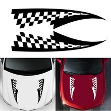 2Pcs  Car Hood Over Stickers Vinyl Film Auto Racing Sports Styling Decals All Models Automobiles Car Tuning Accessories matt color change vinyl film car wraps hood roof whole body stickers decal with air bubble car styling automobiles accessories
