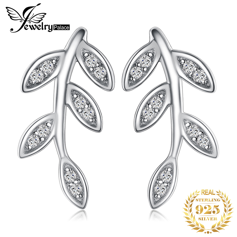 JewelryPalace Leaf Cubic Zirconia Drop Stud Earrings 925 Sterling Silver Earrings  Women Girls Korean Earrings Fashion Jewelry