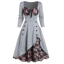 Vestidos Elegantes Para Mujer, vestido de fiesta de talla grande con encaje de flores, con botones y lazo, Vintage