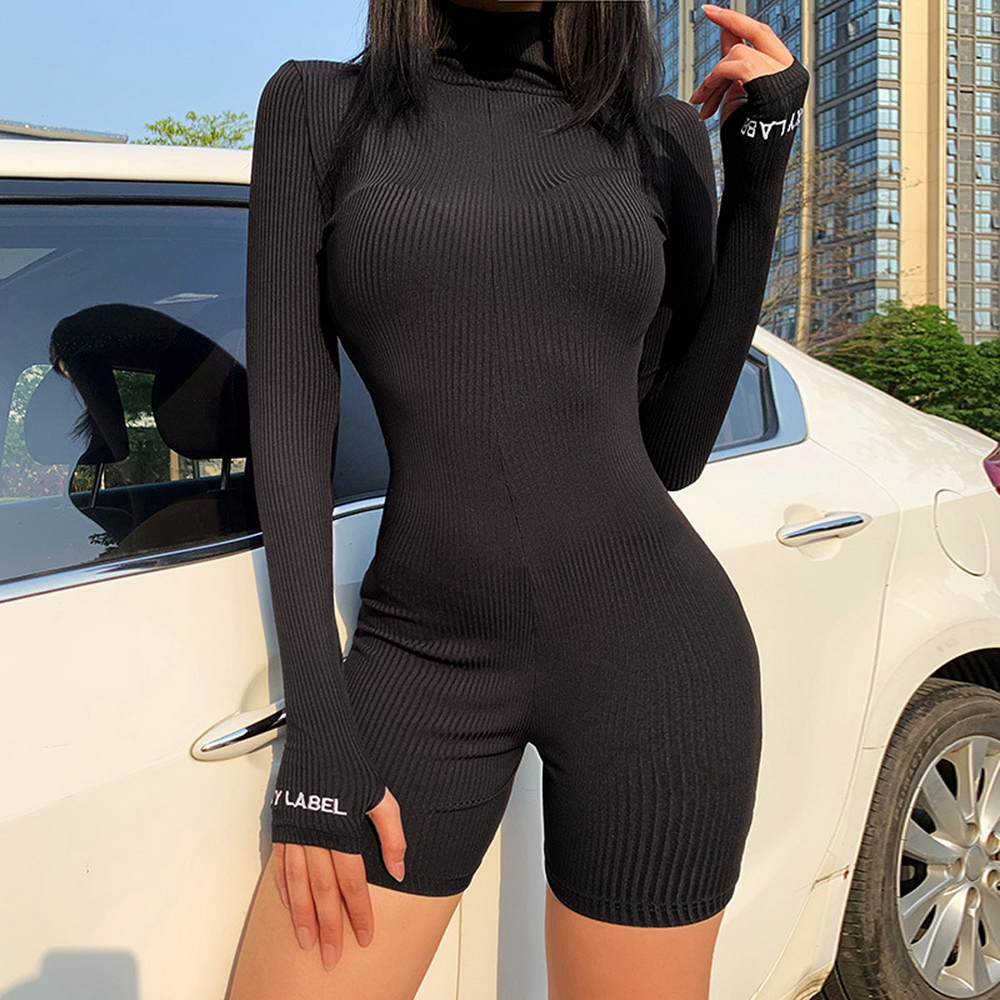 Turtleneck Knit Rib Bodycon Fitness Playsuit Sportswear Long Sleeve Zipper Body Embroidery Lucky Label Rompers Womens Jumpsuit
