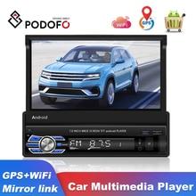 Podofo 1 Din Car มัลติมีเดีย Retractable Android Wifi GPS Autoradio 7นิ้ว Touch Screen สเตอริโอสำหรับ Universal