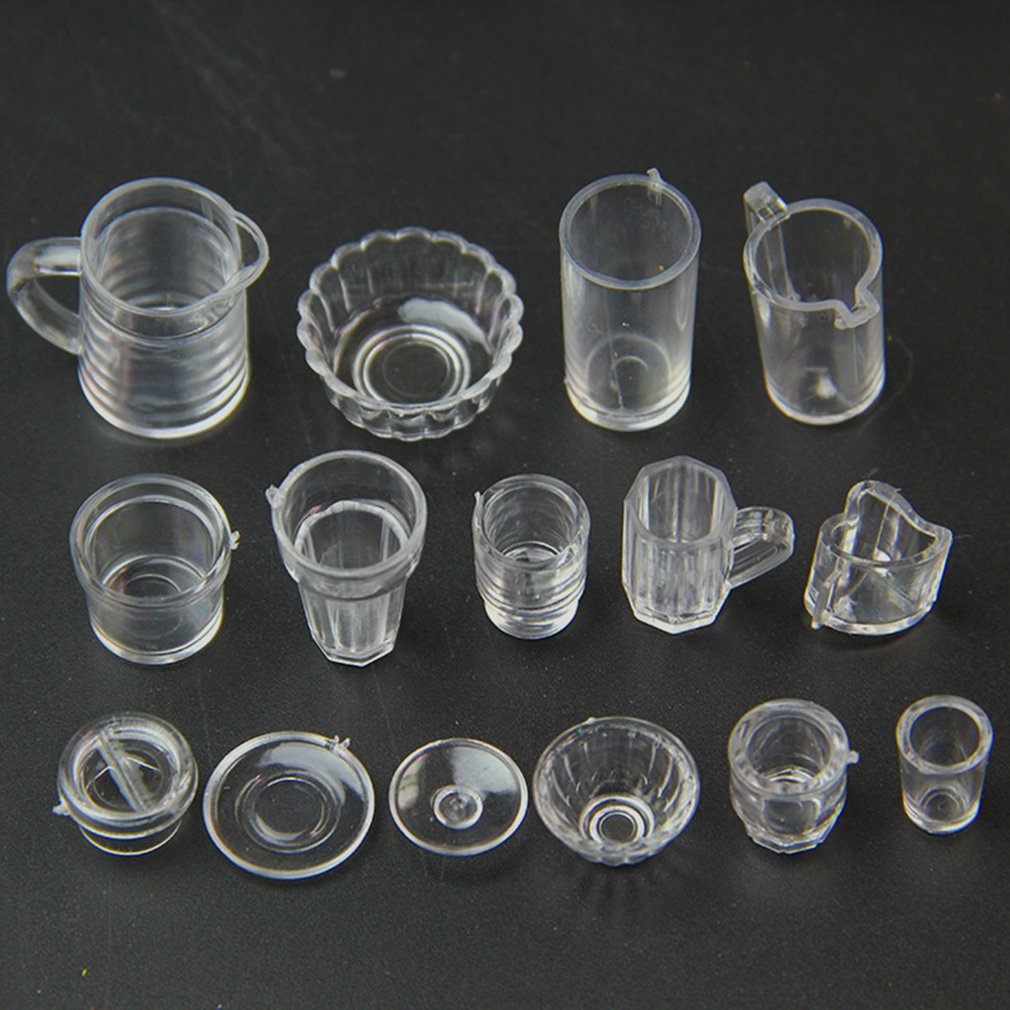 15PCS/SET Small Miniature Drink Ice Cream Cup Kitchenware Model Kids Transparent Plastic Pretend Play Toys