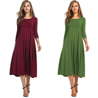 2019 quality fashion women's dress two colors autumn new round neck solid color loose large size dress