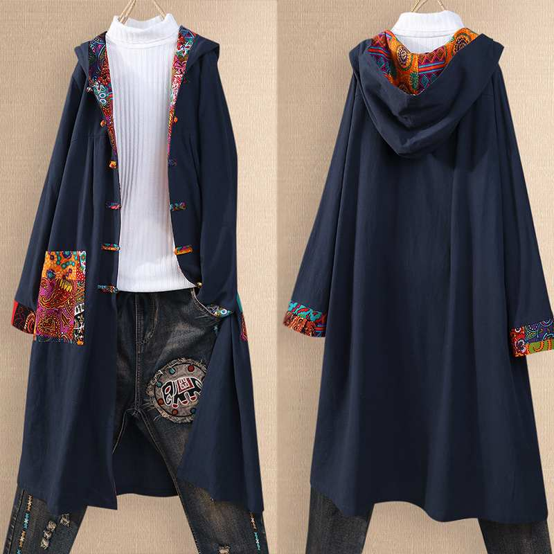 Vintage Women's Hooded Blouse 2020 Kaftan Patchwork Cardigans Causal Long Tops Female Stiching Tunic Printed Shirts Plus Size